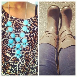 #cheetah #bubblenecklace & biker boots #ootd #outfitoftheday #wiw #whatiwore #jewelry #fashion #fallfashion  (Taken with Instagram)