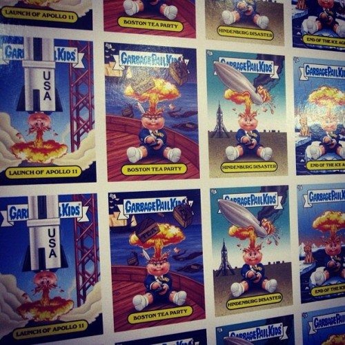 Uncut sheet of the Garbage Pail Kids Brand New Series 1's Adam Bomb Through History (Taken with Instagram)