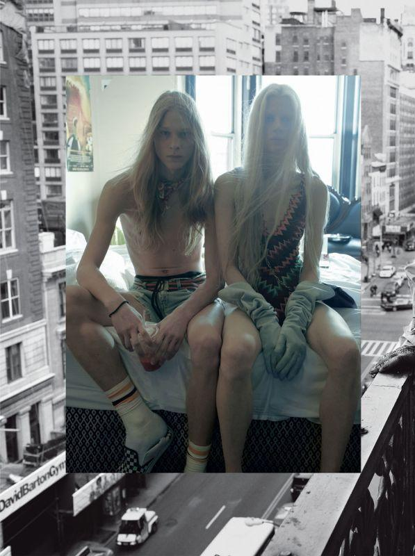"Kristen McMenany and Eugeniy Sauchenka in ""Hotel Chelsea"", photographed by Steven Meisel for Vogue Italia May 2011."
