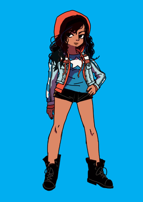 radiomaru:  here's a sketch of MIss America Chavez I did while preparing for that Young Avengers cover. edit to add: I did not make up this character (she belongs to Marvel Comics), and this costume was designed by Jamie McKelvie, the lead artist on the book.
