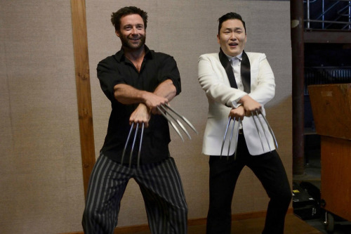 "buzzfeedceleb:  Hugh Jackman and Psy doing ""Gangnam Style"" with Wolverine claws"