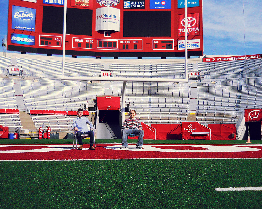 Taking a break in the endzone. On Wisconsin!