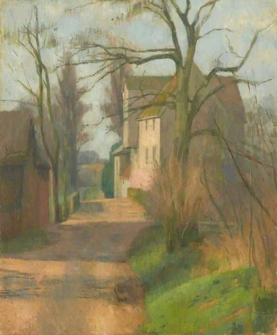 Baylham Mill  by Frank Graham Bell  Date painted: 1940 Oil on canvas, 59.7 x 49.5 cm  Collection:  Arts Council Collection