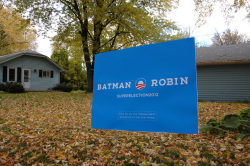 VOTE BATMAN AND ROBIN #streetart Street Artist Election Parody on Web by General Howehttp://www.brooklynstreetart.com/theblog/2012/10/16/batbamacare-bane-capitalist-street-artist-election-parody-on-web-by-general-howe/Holy Healthcare, Batbama!Conceptual Street Artist General Howe will be sticking a pointy eared mask onto Obama's photo after the presidential debate tonight – as he writes his next report for the Super Election News website. (© General Howe)