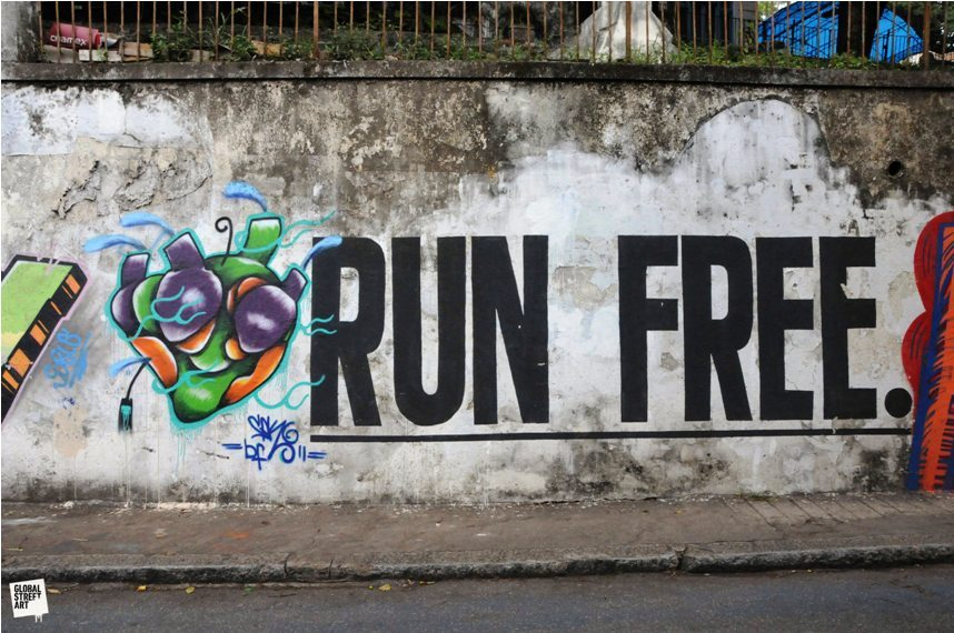 Hearts Run Free - more wisdom from Rio. This photo's one in the Global Street Art archive, from my trip out there last year. The World could do with a little bit more love hey!