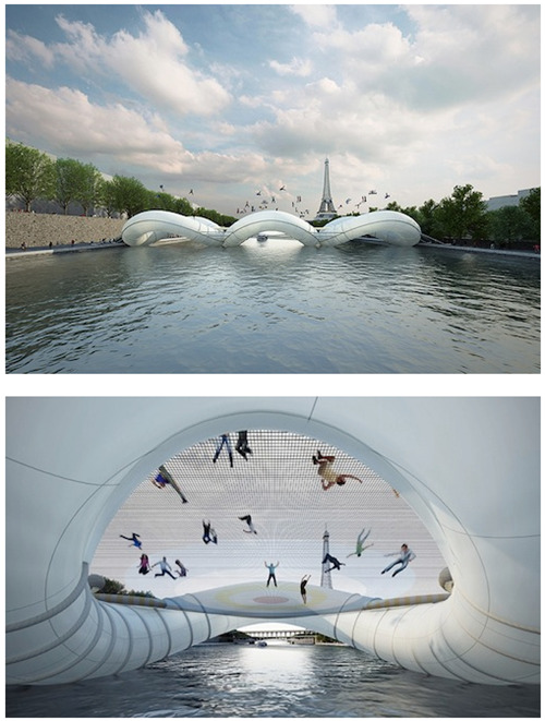 thedailywhat:  Trampoline Bridge of the Day: What, no net? One double-bounce and you're making a splash in the River Seine. [reddit]