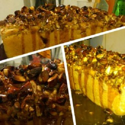 Apple cake with almonds and nuts. And some caramel. #vegancake #vegan #veganfoodshare #apple #yummy  (Pris avec Instagram)