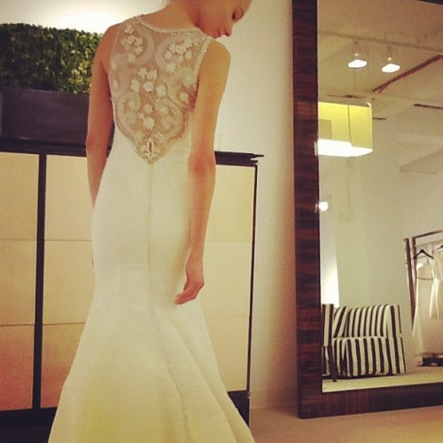 A back that takes our breath away @HouseofHerrera #bridalmarket  (Taken with Instagram)