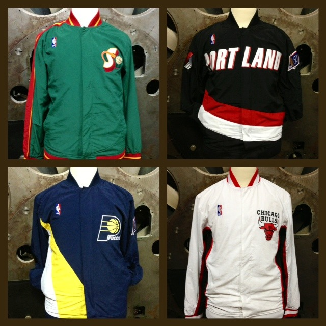 mitchell-ness:  The NBA season is rapidly approaching and our flagship store is ready. Hitting the floor tomorrow will be a bunch of NBA Warm Up Jackets. Some that you've seen before along with some new ones. Here's a sneak peek.  They'll be on our website soon too.