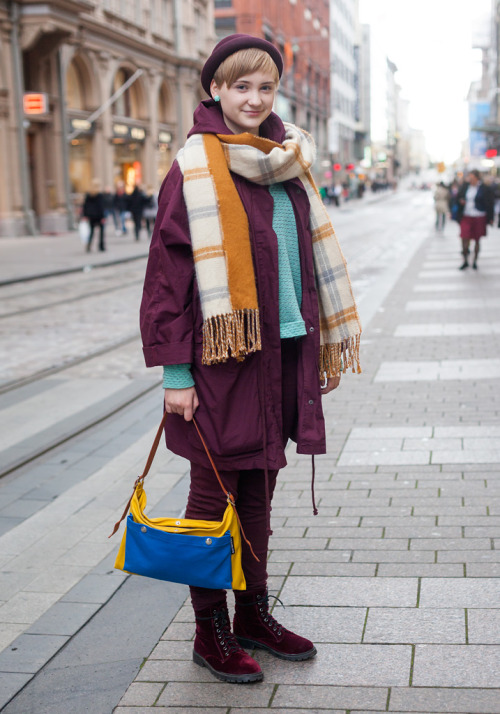 Love her layering, burgundy boots, and perfect plaid scarf! via Hel-Looks