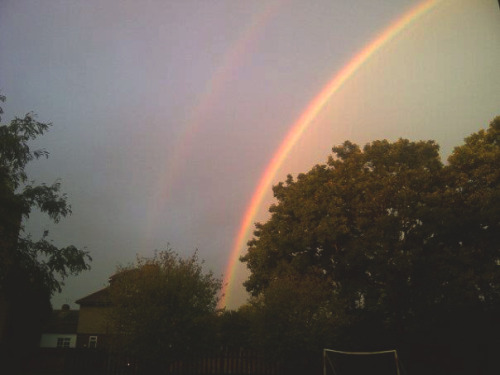 The rainbow is a sign of God's promise  That He will guide us through any storm; That He will ease all our troubles  No matter what their form.