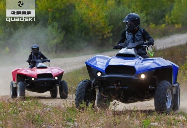 """GIBBS Quadski to launch in U.S. next month"" After existing only in prototype form since at least 2006, the GIBBS Quadski is finally about to become a commercially-available product. The amphibious vehicle can be driven like a regular 4WD quad while on land, but it draws in its wheels and becomes a Jet Ski-like contraption upon entering the water – all within five seconds. At a press conference yesterday in Detroit, GIBBS founder Alan Gibbs and chairman Neil Jenkins announced that the Quadski will be available in select U.S. markets starting next month … priced at about US$40,000."