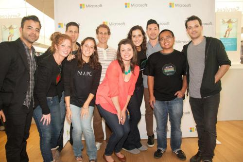 What did you do this weekend? We camped out at the opening of the Microsoft Store at the Rockingham Mall in Salem, NH for a chance to meet the boys from O.A.R. and show off our light up shirts!