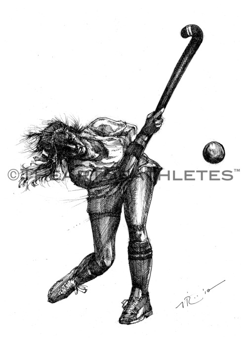 """The Hit 2"" New Field Hockey piece. 8x11.5 inches.  Pen & ink on heavy drawing paper. Now available for purchase at The Art of Athletes™. LIKE on Facebook. Follow @TheArtofAthlete"