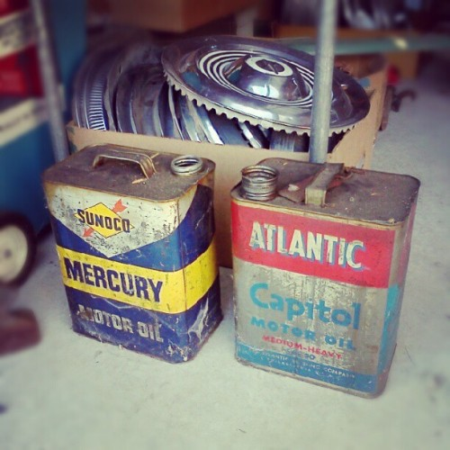 Vintage oil cans #shitinmygarage  (Taken with Instagram)