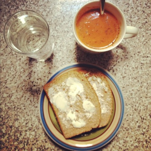 Roasted red pepper and tomato soup in my favourite mug #soup #lunch #tomato (Taken with Instagram)