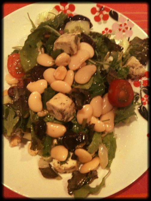 Vegan Olive Tofu & ButterBean Salad! Olive Tofu cubed, butter beans, cherry tomatoes, scallions, skinned cucumber, roasted almonds, kalamata olives & rocket all tossed together simply in basil olive oil.