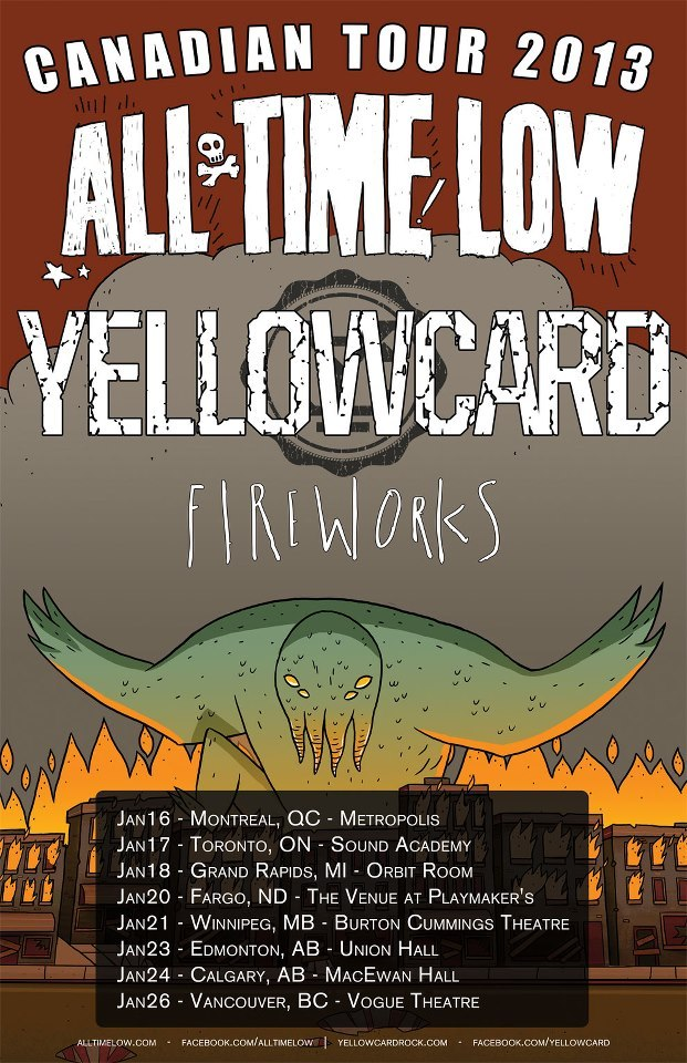 All Time Low and Yellowcard have announced a co-headlining Canadian tour! Both bands will be heading up north in January with Fireworks for an eight date tour. Check out the dates above!