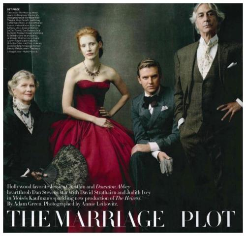 Judith Ivey, Jessica Chastain, Dan Stevens, and David Strathairn in the November issue of U.S. Vogue. Photographed by Annie Leibovitz. kgsdfgjsdfsdfgkdblfgaYES