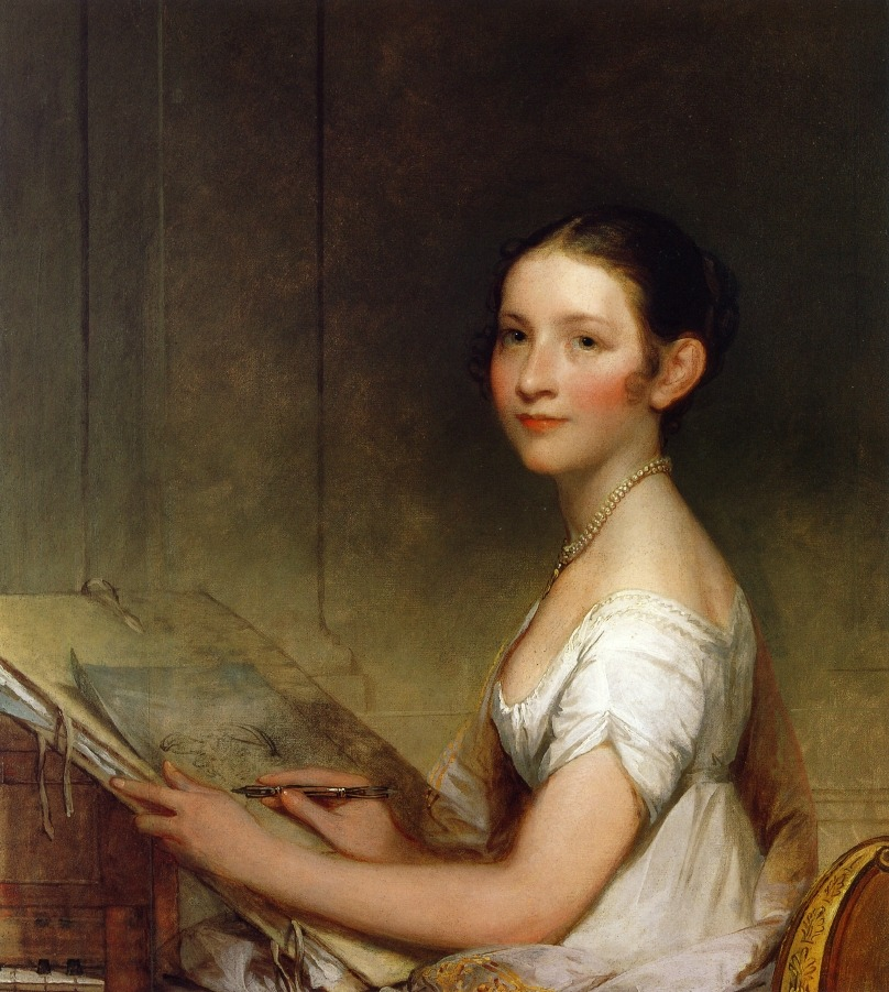 Lydia Smith (c. 1808-1810). Gilbert Stuart (American, 1755-1828). Oil on wood. Stuart went to Boston at the invitation of Massachusetts senator Jonathan Mason, who promised to introduce him to friends, relatives, and associates there. He found patronage among a range of the city's residents, including Paul Revere and mayor Josiah Quincy as well as younger sitters like Lydia Smith, whose complex portrait reveals her to be an accomplished young lady with both musical and artistic talents.