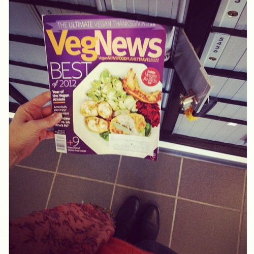 Best part of going to my business PO Box today. Thank you @vegnews crew! My photos on cover and inside of @allysonkramer @ayinde & @navaatlas2's holiday feasts! #vegan #vegnews  (Taken with Instagram)