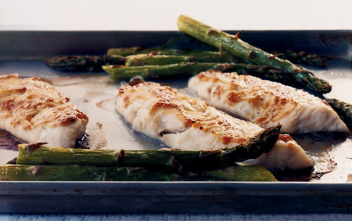 Miso-Glazed Sea Bass With Asparagus This recipe is easy enough for a Wednesday night meal. Delicate, sophisticated flavors come together almost effortlessly with the help of miso, a Japanese staple.   full recipe here Recipe by   Lillian Chou    Photograph by   Romulo Yanes