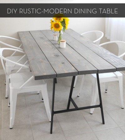 myidealhome:  DIY: rustic-modern dining table (via Curbly)
