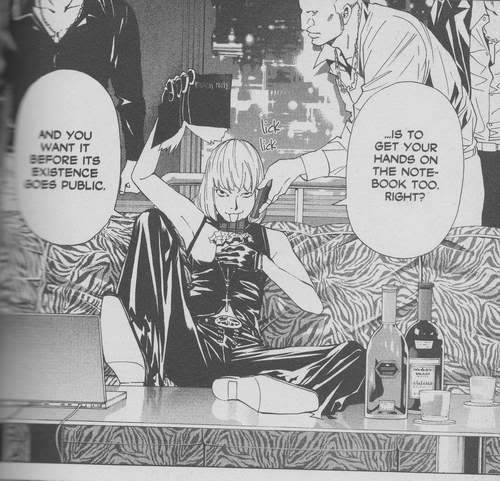 katoliska:  ooc; This panel will forever be the funniest to me because Mello is such a little shit that he has the mafia men holding the phone for him. Like, just imagine how that guy feels! One day, he's snorting coke off a hooker's ass and the next he's demoted to resident phone-holder. I mean, Near does too - Rester's always got the phone to his ear. I think they need to include the class 'How To Hold a Phone 101' on the Wammy roster.   What's always struck me about this is what it says about the force of Mello's personality. I mean, he's…20? 21? He's pretty, and dresses flamboyantly. He's licking his fucking chocolate bar. You'd think that no one in the mafia would respect him, formidable intellect or no, but instead they're almost like his servants. You can't climb to the top on smarts alone. I think his combination of guts, charisma, and sheer insanity got him there.