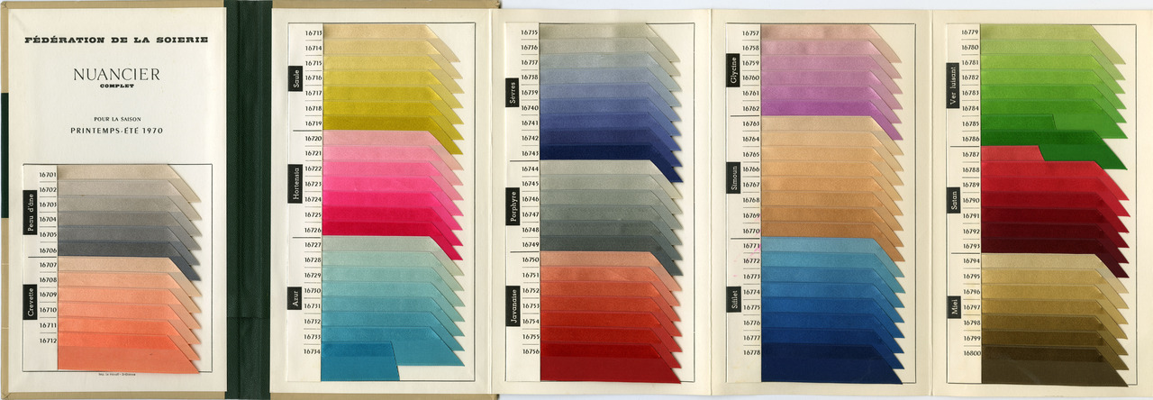 SUBMISSION: Federation of Silk. Color Card for Spring-Summer 1970. Lyon, France.