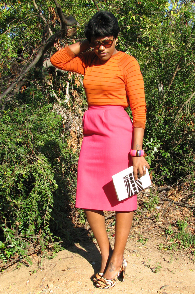 "> my interpretation: orange + [pink] <  Hand-Picked Items:  Orange & Black Striped Shirt - Goodwill Pink Shirt  - Goodwill Cole Haan Clutch - Marshall's Earrings - Momma's ole jewelry box Bangle - Forever 21  Animal Print Heels - Nine West ""Drought"" 6pm.com/Zappos.com"