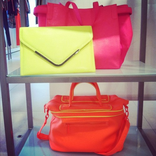 Sporty neon bags at BCBGeneration Spring 2013 preview