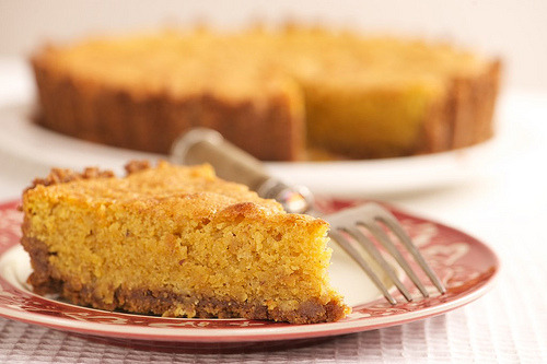 almond and pumpkin butter torte with a gingersnap crust click here for recipe