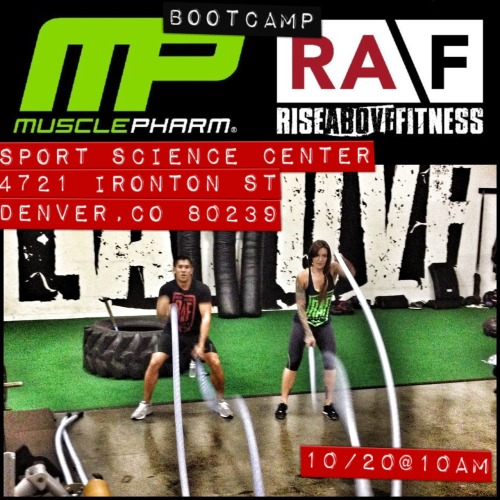 Denver, Colorado Bootcamp! This Saturday the 20th at 10AM RAF is teaming up with Muscle Pharm to bring you the VERY FIRST public event inside the Muscle Pharm Sport Science Center.  Secure a spot by prepaying the $20 entrance fee  to krissymaecagney@yahoo.com via Paypal.  You don't want to miss this!