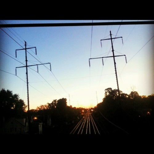 Railroad to the sun #tracks #skyporn #sunset #railroad #blue #igdaily #instagood #instamood #instagramers #webstagram  (Taken with Instagram)