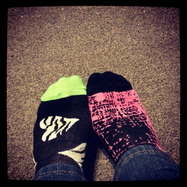 #todayssocks #socksoftheday #socks #sox #mismatch #mismatchedsocks #mismatchsocks #mixnmatch #pink #pinkandblack #neongreen #zebraprint #heart #rue21 #target #feet #myfeet #mysocks  (Taken with Instagram)