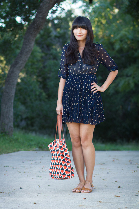 "2012. hello dotty. polka dot mini dress from tj maxx. wanted sandals. missibaba tote from etcetera, etc.the little dress is one of two polka dot dresses i bought in september (the other is the j.crew tie-neck dress). i call it a mini dress because i'm 5'9"", and many cute frocks lean towards the short side on me. i combat the problem by saving them for weekends and always adding shorts underneath. i wore it on sunday to the grocery store.when i bought the dress, five women stopped me in tj maxx and asked me where i found it. i cheerfully replied, ""in juniors' dresses!"" but i didn't have the heart to add: ""it was the only one."" lucky for you, i found a very similar dress at urban outfitters and added the link below.tonight i'm making seafood strata for dinner, and i'm feeling quite excited. sometimes it's fun to have breakfast at night. top of the morning to you!the look 