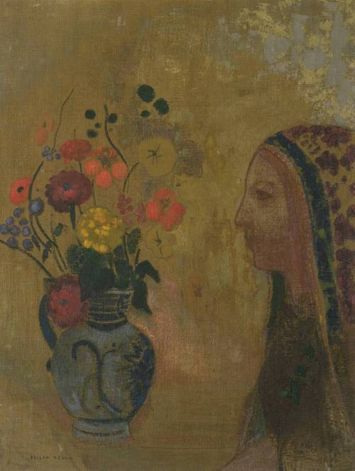 Profile of a Woman with a Vase of Flowers by Odilon Redon, circa 1895-1905