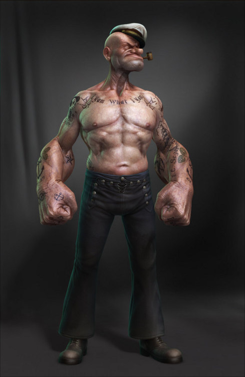 Fan art of the day: Realistic Popeye rendering By Lee Ramao