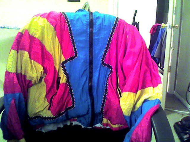What should I wear with this colorful windbreaker? It's for throwback Thursday at my school for spirit week.