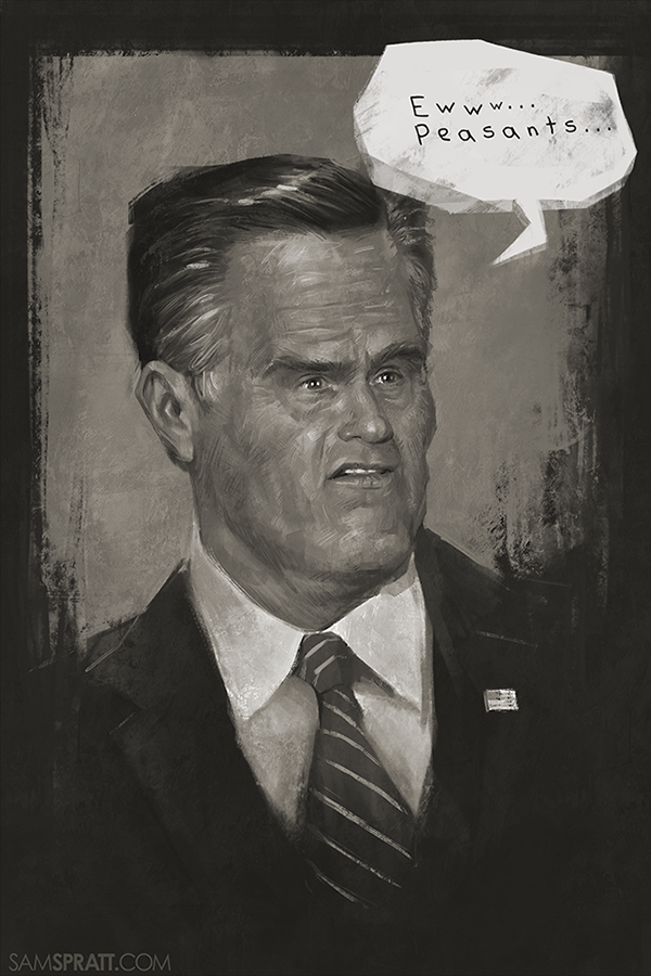 "crossedmymind299:  samspratt:  ""Mitt Romney Meets The 47%"" A quick sketch in honor of the presidential debates.  hahahaha I love that you painted him as Little face Romney"