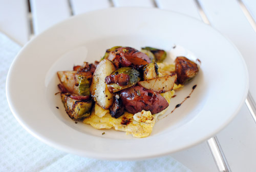 Brussel Sprout Hash with Balsamic Glaze with recipe (link)
