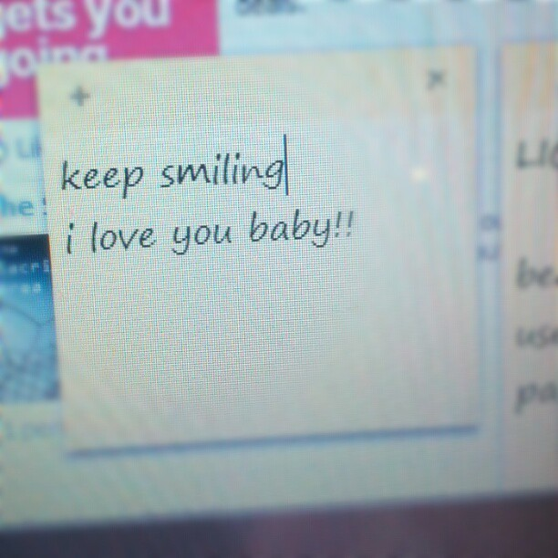 Note Kyle left on my computer while I was in the bathroom <3 #bf #love #cute  (Taken with Instagram)