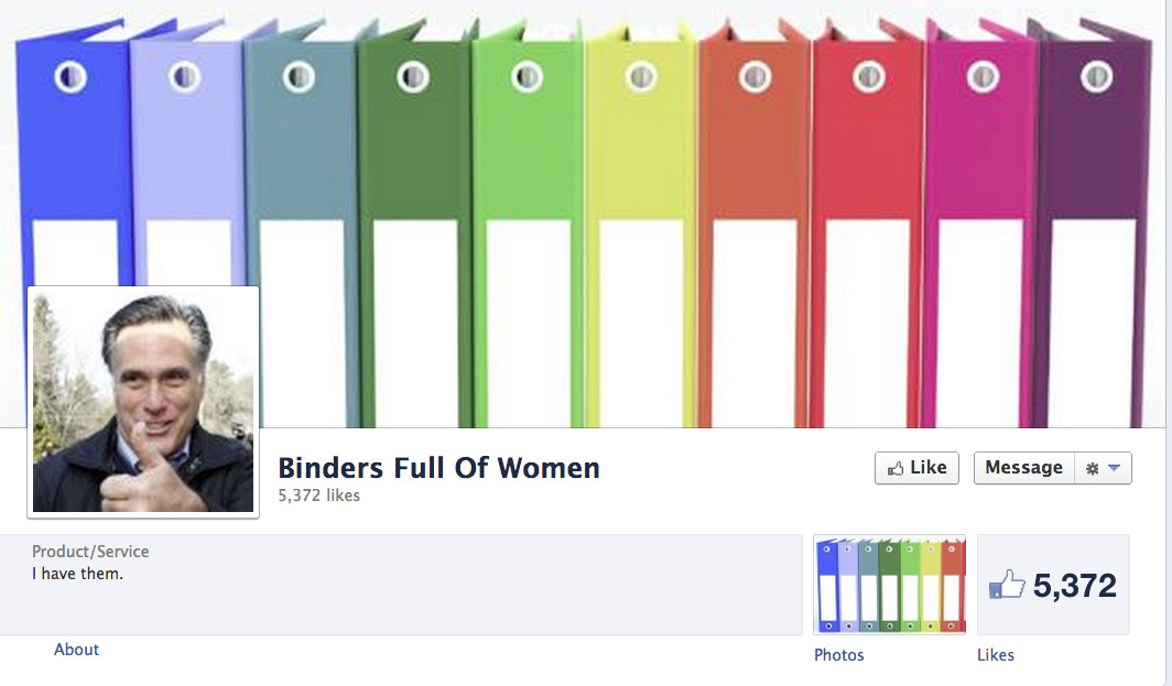 """Binders Full of Women"" is now listed under ""Products/Services"" on Facebook."