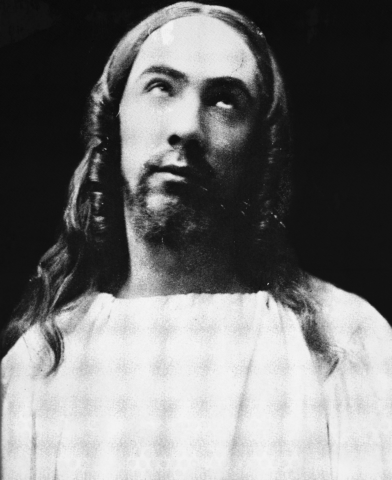 "Bela Lugosi as Jesus — ""In 1909, among his many roles, Bela was chosen to play Jesus Christ in a passion play. It appears that this role was of special importance to the young Lugosi, as he had a number of pictures taken of himself in the role. They also illustrate the remarkable resemblance that Bela bore to the traditional images of Christ."""
