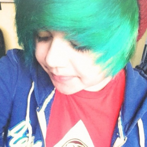 I have green hair. It's my 6th color so far that I've had in my hair.