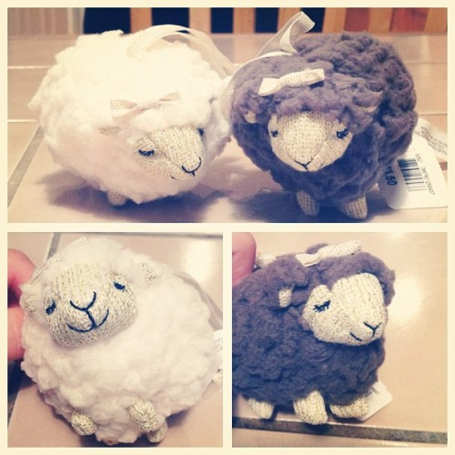 The angel #sheep and her brother, the black (gray) sheep. #bathandbodyworks #cute #idied (Taken with Instagram)
