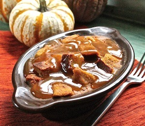 findvegan:  Pumpkin Bread Pudding with Maple Caramel Sauce