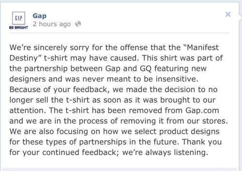 "The Gap's apology. ""was never meant to be insensitive."" FUCK OFF"