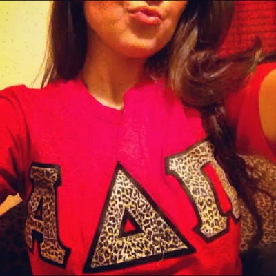 #AlphaDeltaPi #leopard #red #kisses Oops my face doesn't fit 😶 (Taken with Instagram)