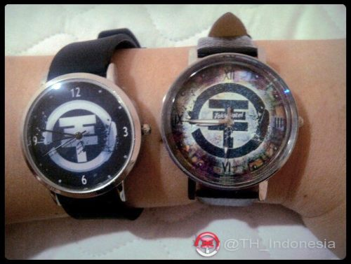 2 Tokio Hotel handmade wrist watches on me :)